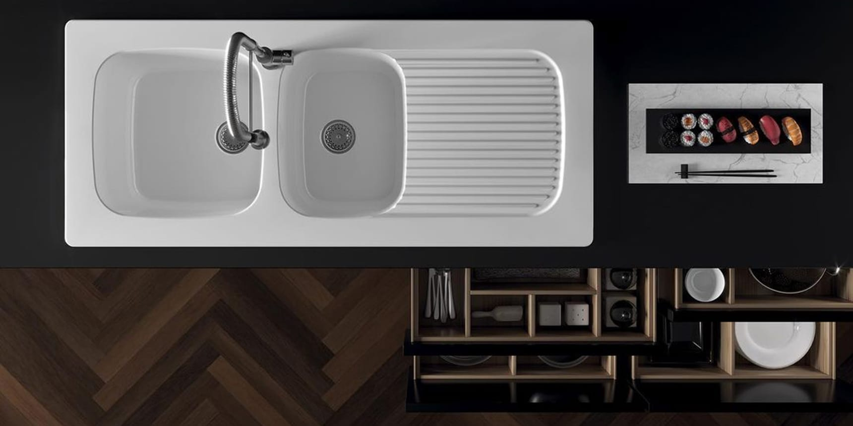 RECESSED / FURNITURE SINK Genius sink. Reversible. Genius reversible recessed sink. Recessed/countertop sink with 2 cm edge thickness.