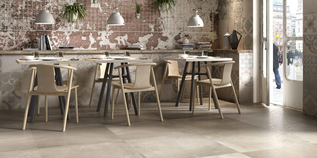 "floor Terracotta Fango 80x80 cm nt rt 32""x32"" low wall Cementina Terracotta Fredda 80x80 cm nt rt 32""x32"""